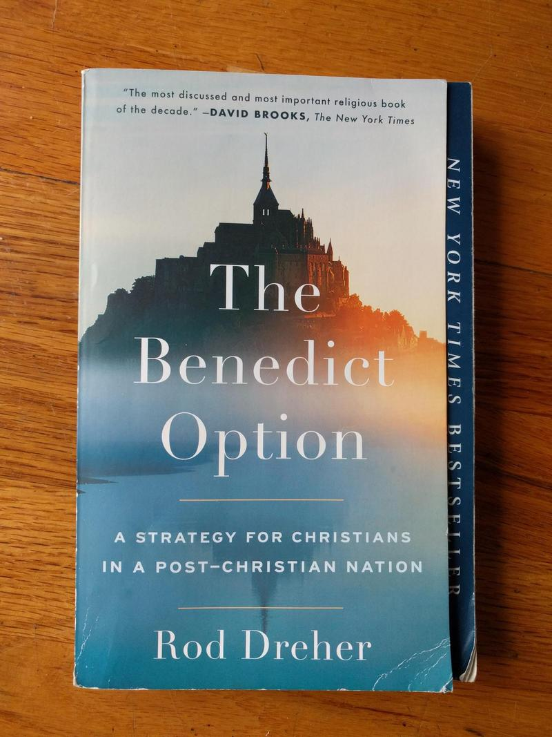 Paperback copy of the book The Benedict Option by Rod Dreher