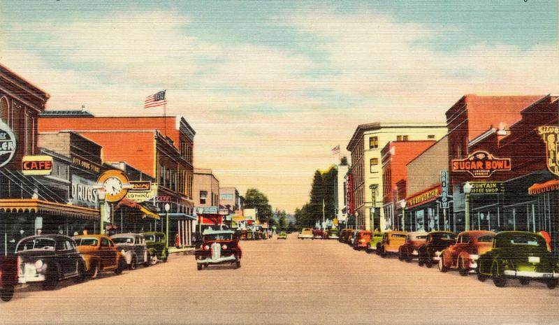 Drawing of Sherman Avenue in Couer d'Alene, Idaho