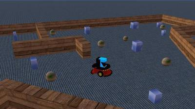 an animated robot driving in a virtual maze